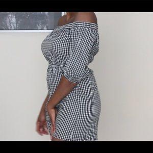 H&M Black/White Striped Off-Shoulder Dress